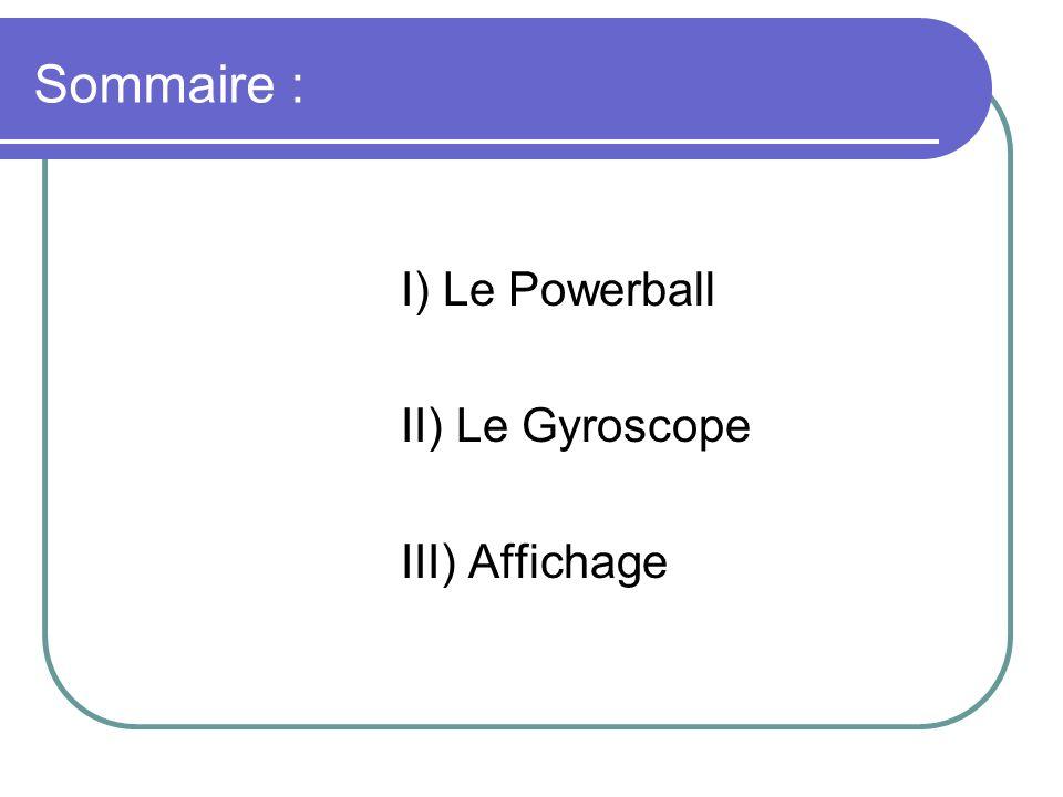 Sommaire : I) Le Powerball II) Le Gyroscope III) Affichage