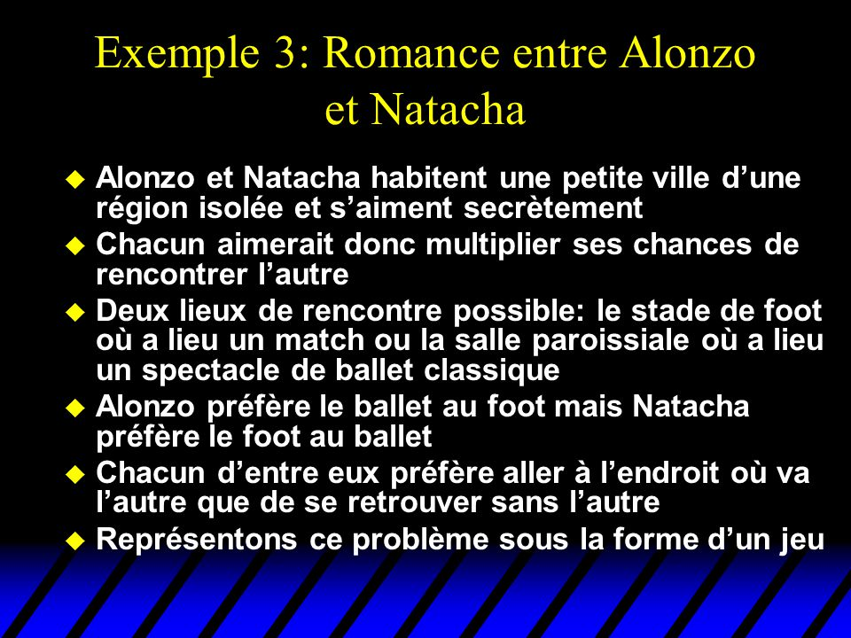 Exemple 3: Romance entre Alonzo et Natacha