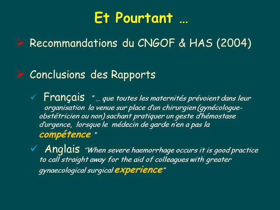 Et Pourtant … Recommandations du CNGOF & HAS (2004)