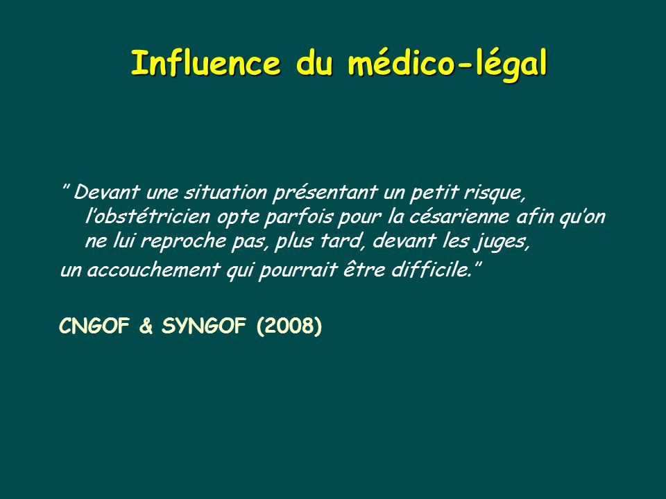 Influence du médico-légal
