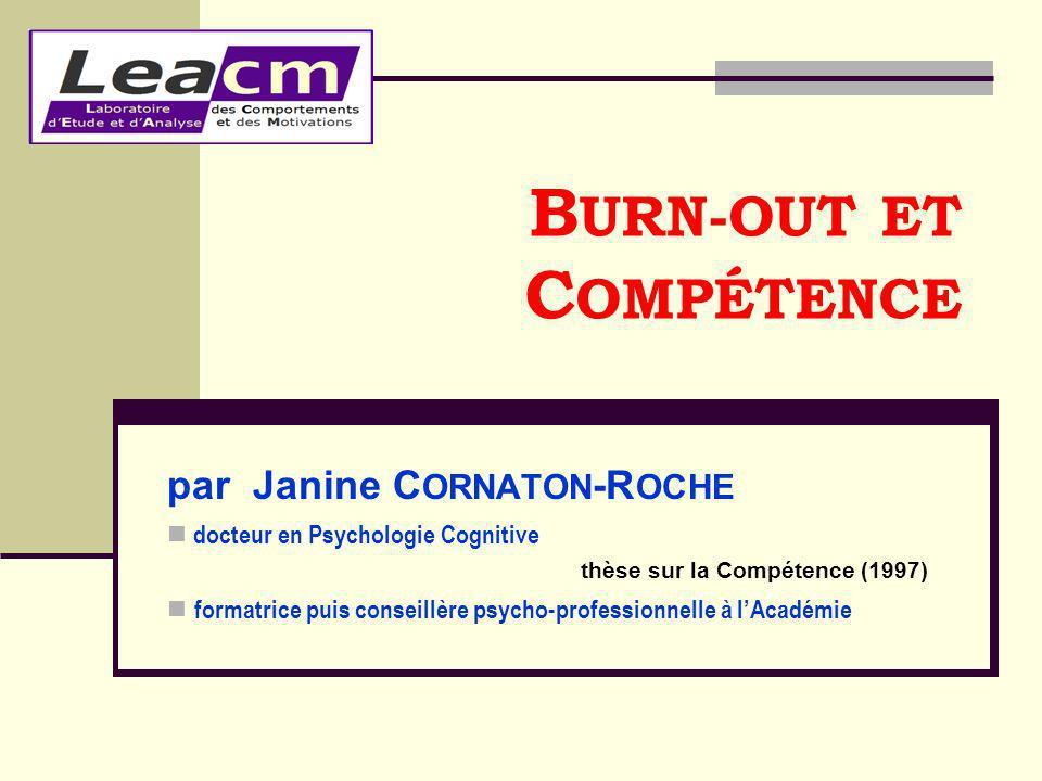 BURN-OUT ET COMPÉTENCE