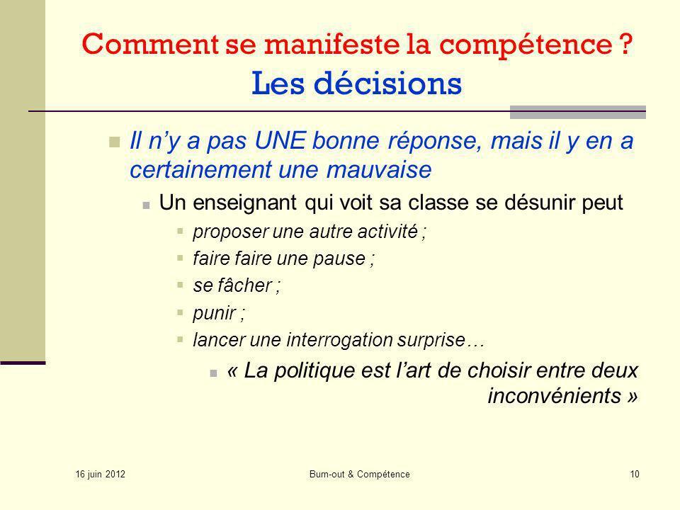 Comment se manifeste la compétence Les décisions