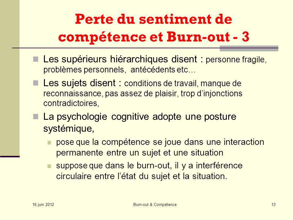 Perte du sentiment de compétence et Burn-out - 3