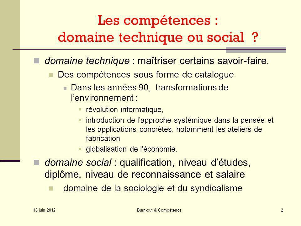 Les compétences : domaine technique ou social