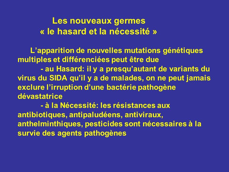 Les nouveaux germes « le hasard et la nécessité » L'apparition de nouvelles mutations génétiques multiples et différenciées peut être due - au Hasard: il y a presqu'autant de variants du virus du SIDA qu'il y a de malades, on ne peut jamais exclure l'irruption d'une bactérie pathogène dévastatrice - à la Nécessité: les résistances aux antibiotiques, antipaludéens, antiviraux, anthelminthiques, pesticides sont nécessaires à la survie des agents pathogènes