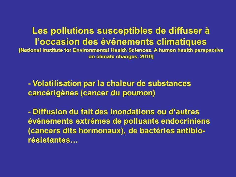 Les pollutions susceptibles de diffuser à l'occasion des événements climatiques