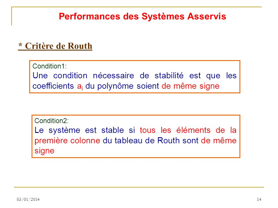 Performances des Systèmes Asservis