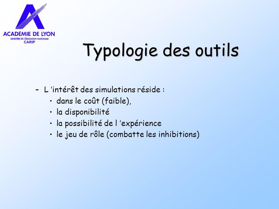 Typologie des outils L 'intérêt des simulations réside :