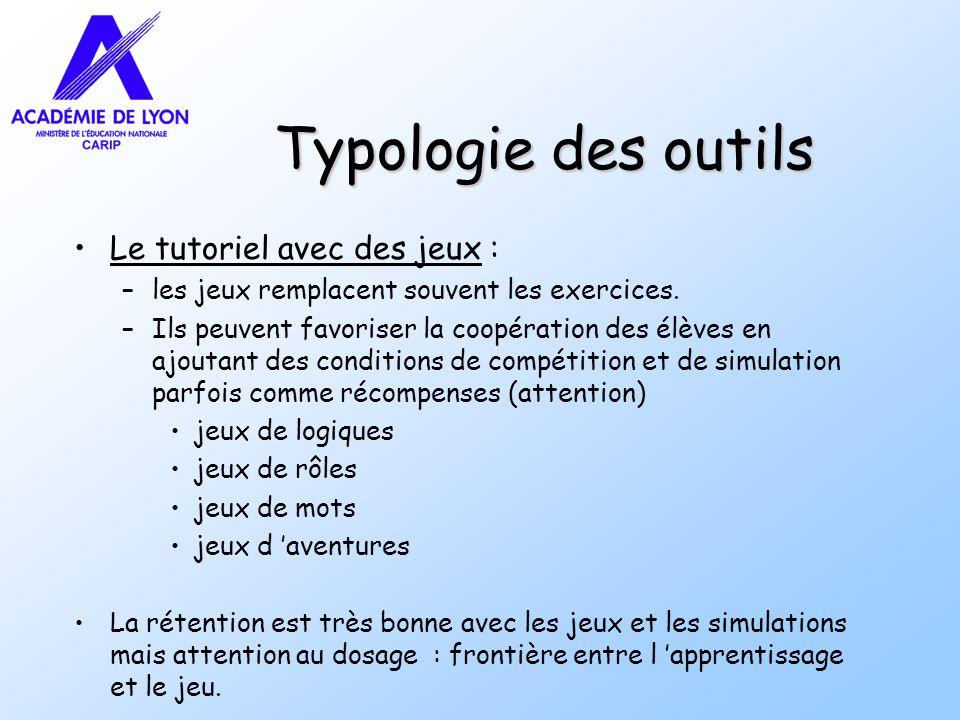 Typologie des outils Le tutoriel avec des jeux :
