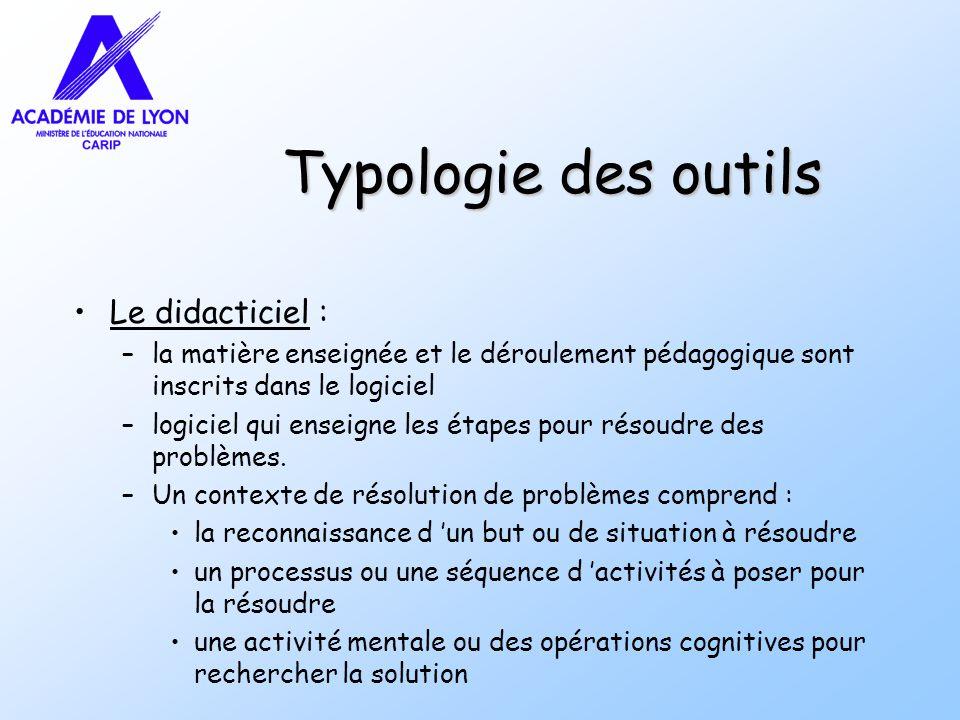 Typologie des outils Le didacticiel :