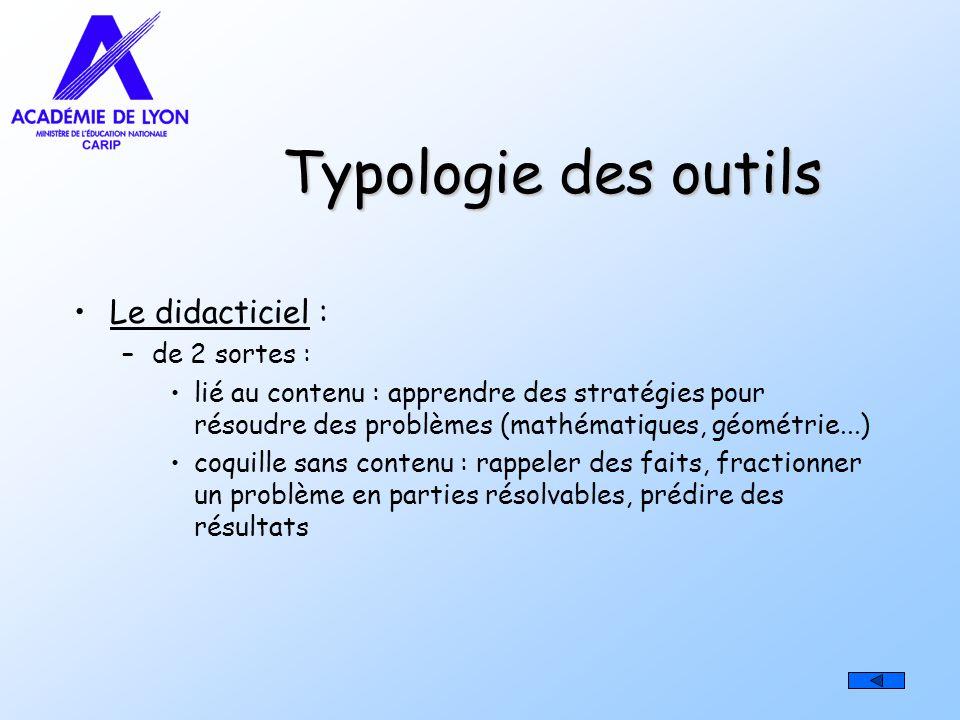 Typologie des outils Le didacticiel : de 2 sortes :