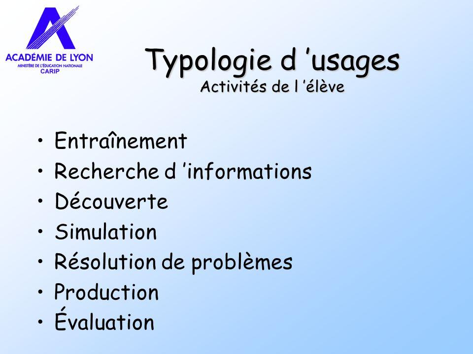 Typologie d 'usages Activités de l 'élève