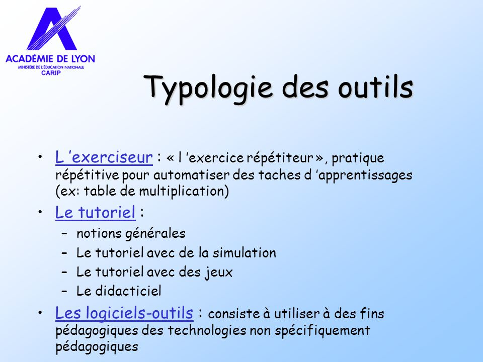 Typologie des outils