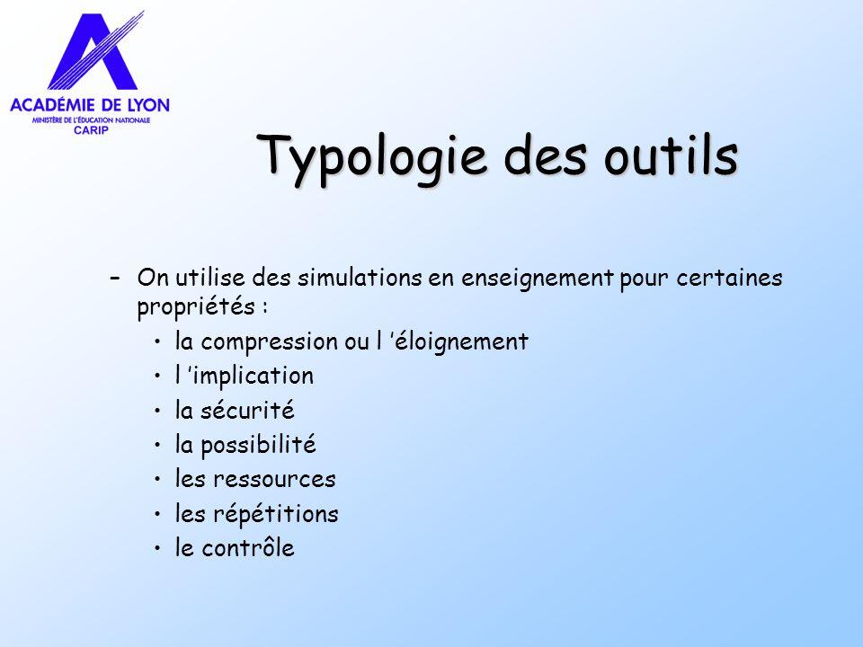Typologie des outils On utilise des simulations en enseignement pour certaines propriétés : la compression ou l 'éloignement.