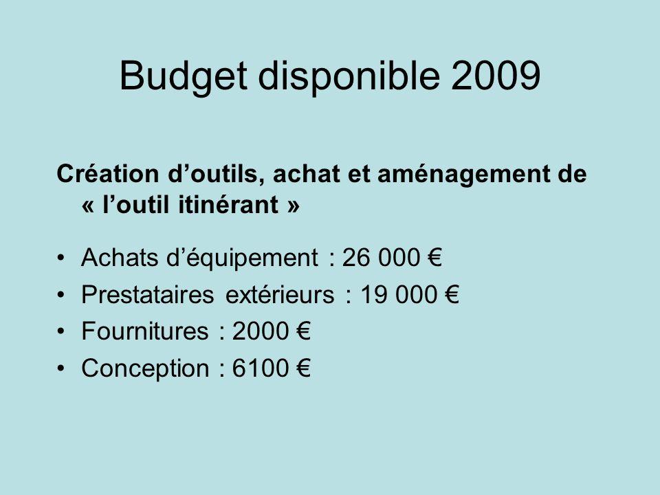 Budget disponible 2009 Création d'outils, achat et aménagement de « l'outil itinérant » Achats d'équipement : 26 000 €