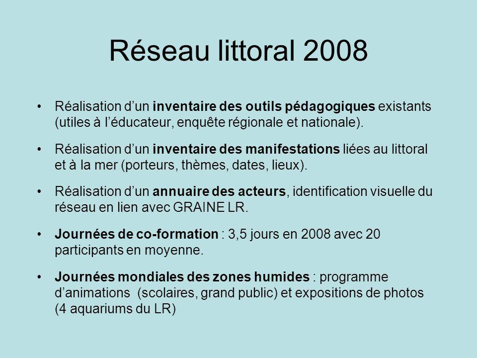 Réseau littoral 2008Réalisation d'un inventaire des outils pédagogiques existants (utiles à l'éducateur, enquête régionale et nationale).