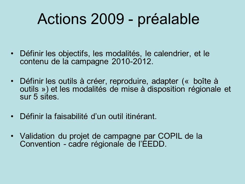 Actions 2009 - préalableDéfinir les objectifs, les modalités, le calendrier, et le contenu de la campagne 2010-2012.