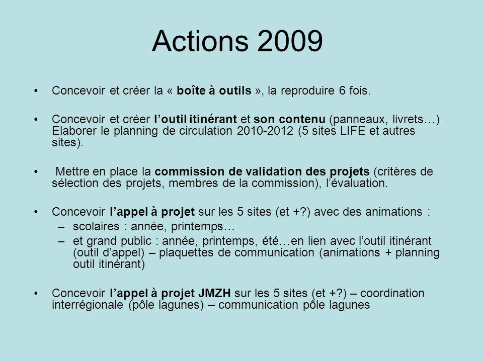 Actions 2009 Concevoir et créer la « boîte à outils », la reproduire 6 fois.