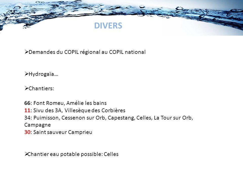 DIVERS Demandes du COPIL régional au COPIL national Hydrogaïa…