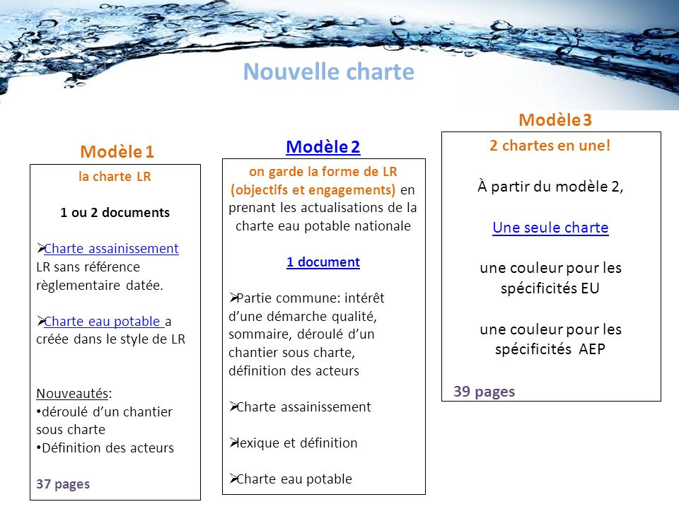 Nouvelle charte Modèle 3 Modèle 2 Modèle 1 2 chartes en une!