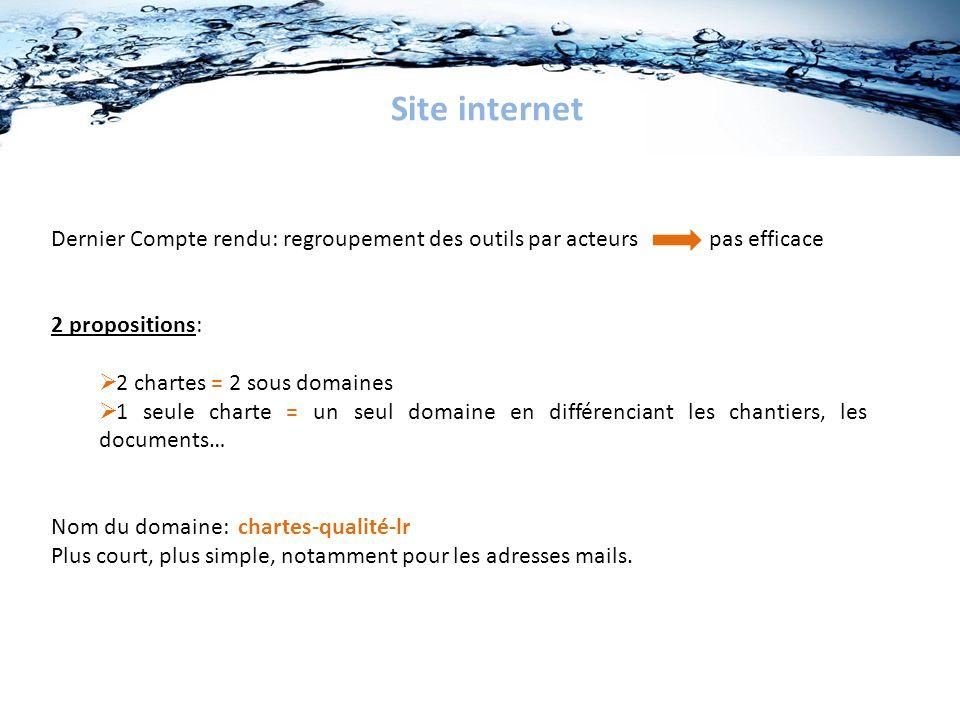 Site internet Dernier Compte rendu: regroupement des outils par acteurs pas efficace. 2 propositions: