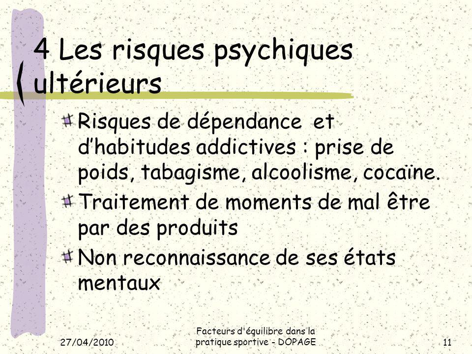 4 Les risques psychiques ultérieurs