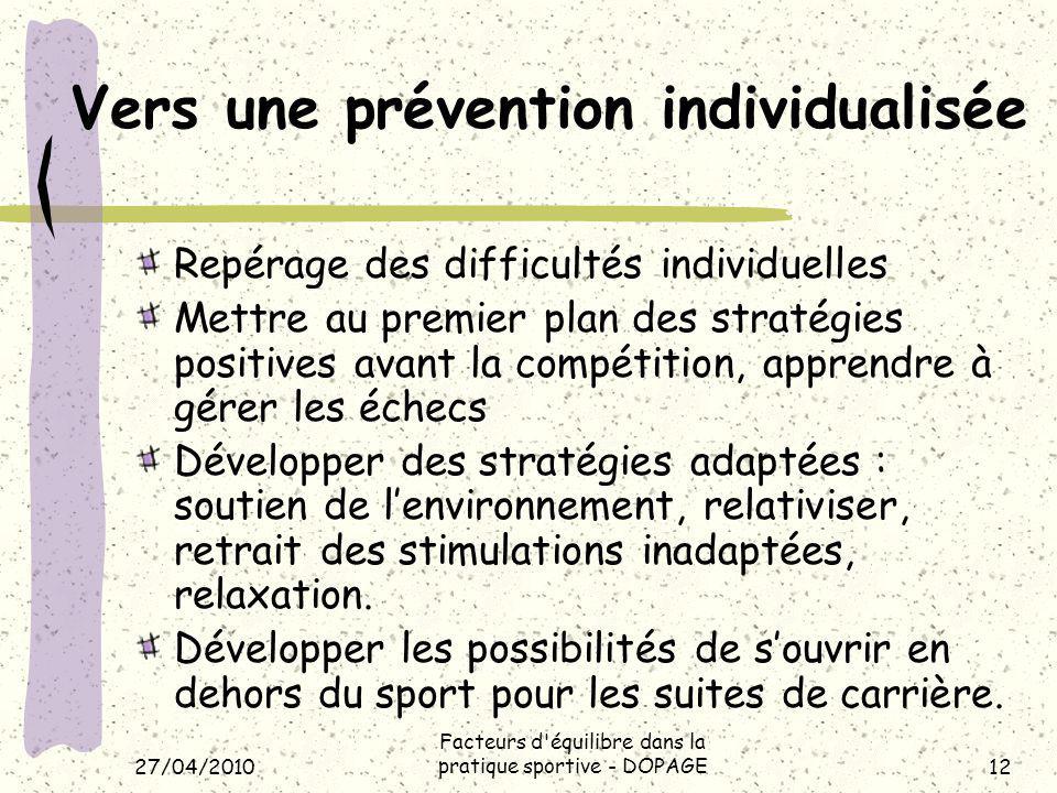 Vers une prévention individualisée