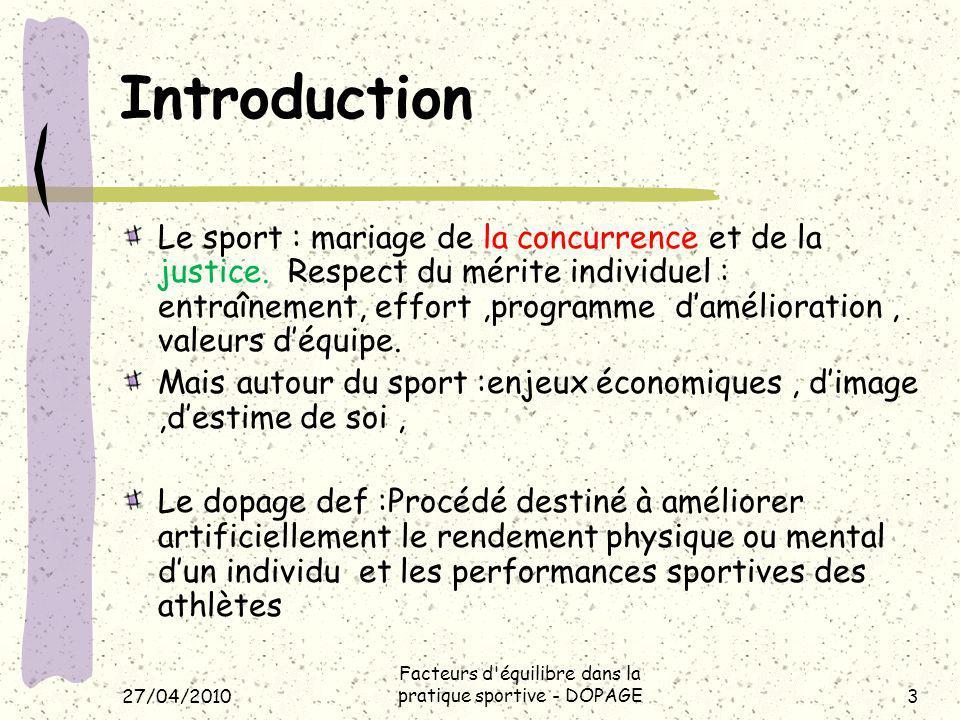 Facteurs d équilibre dans la pratique sportive - DOPAGE