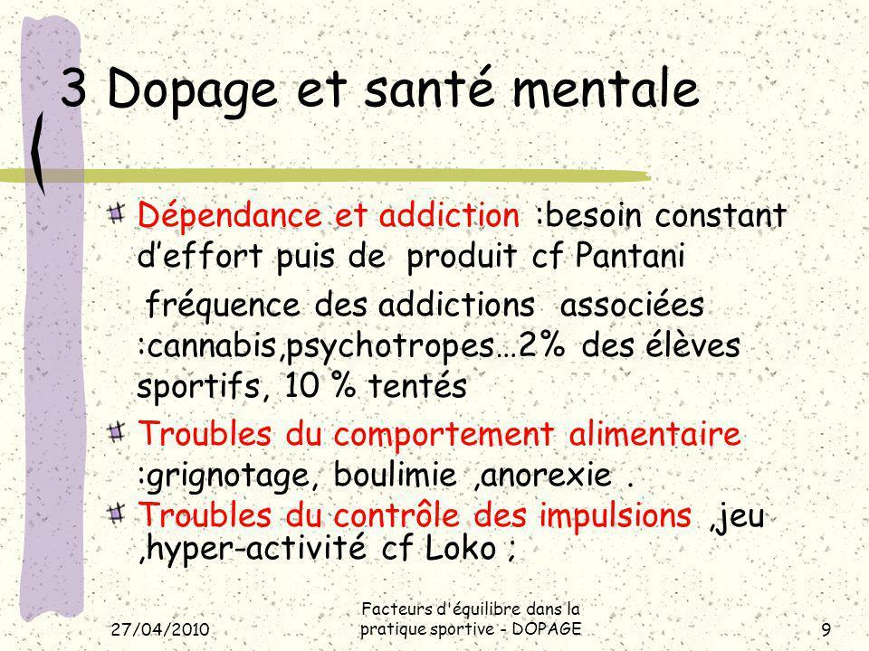3 Dopage et santé mentale