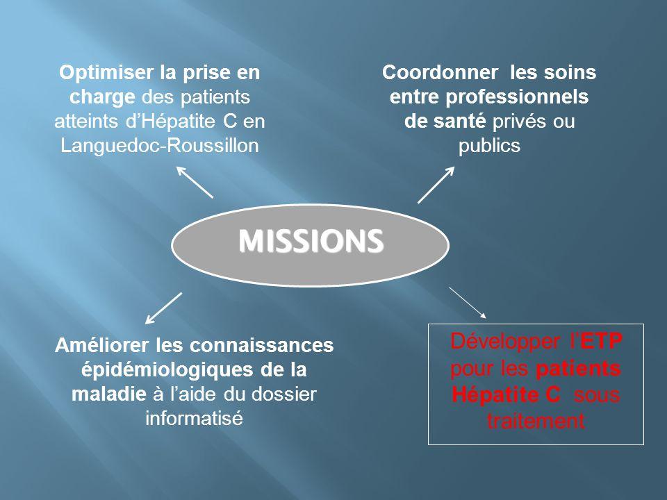 MISSIONS Développer l'ETP pour les patients Hépatite C sous traitement