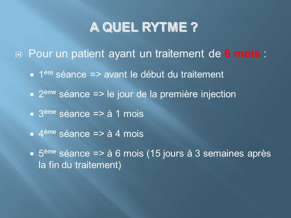 A QUEL RYTME Pour un patient ayant un traitement de 6 mois :