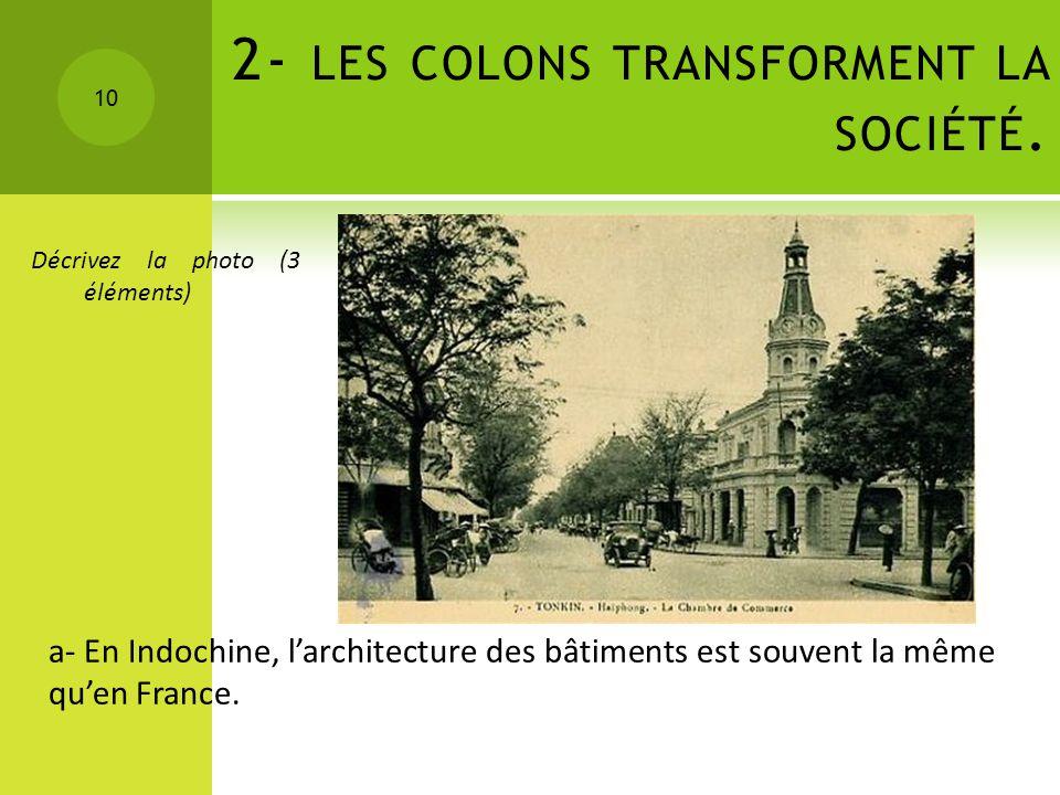 2- les colons transforment la société.