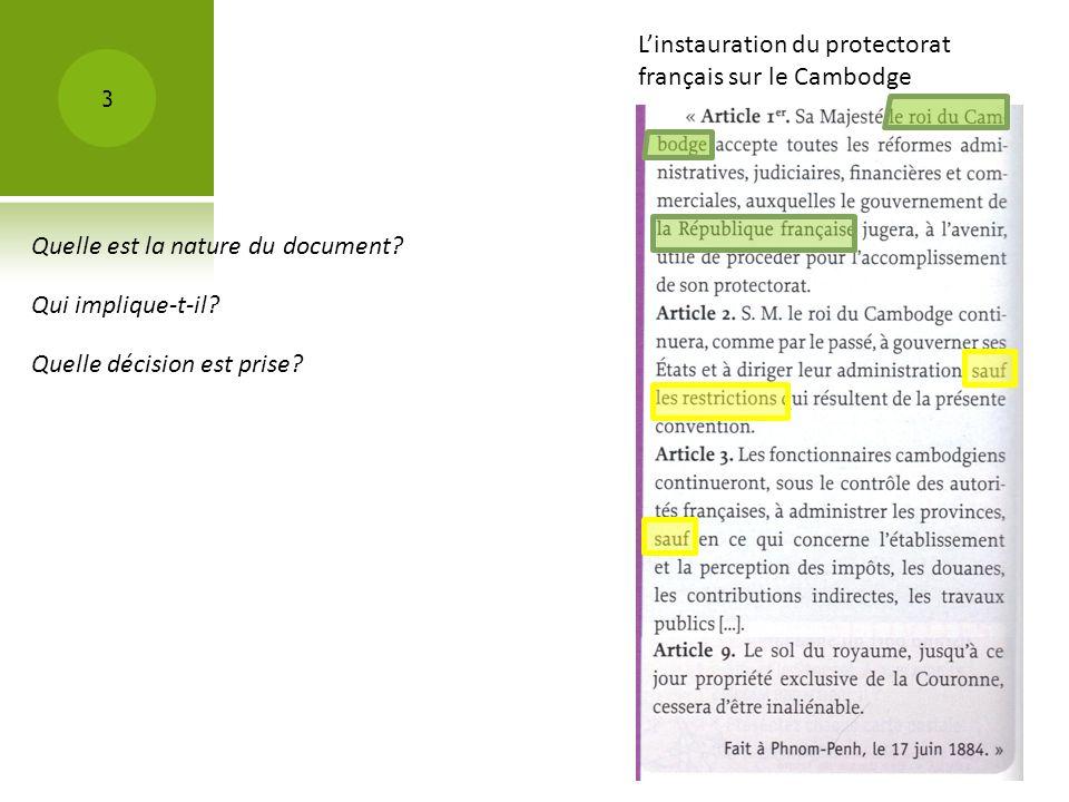 L'instauration du protectorat français sur le Cambodge