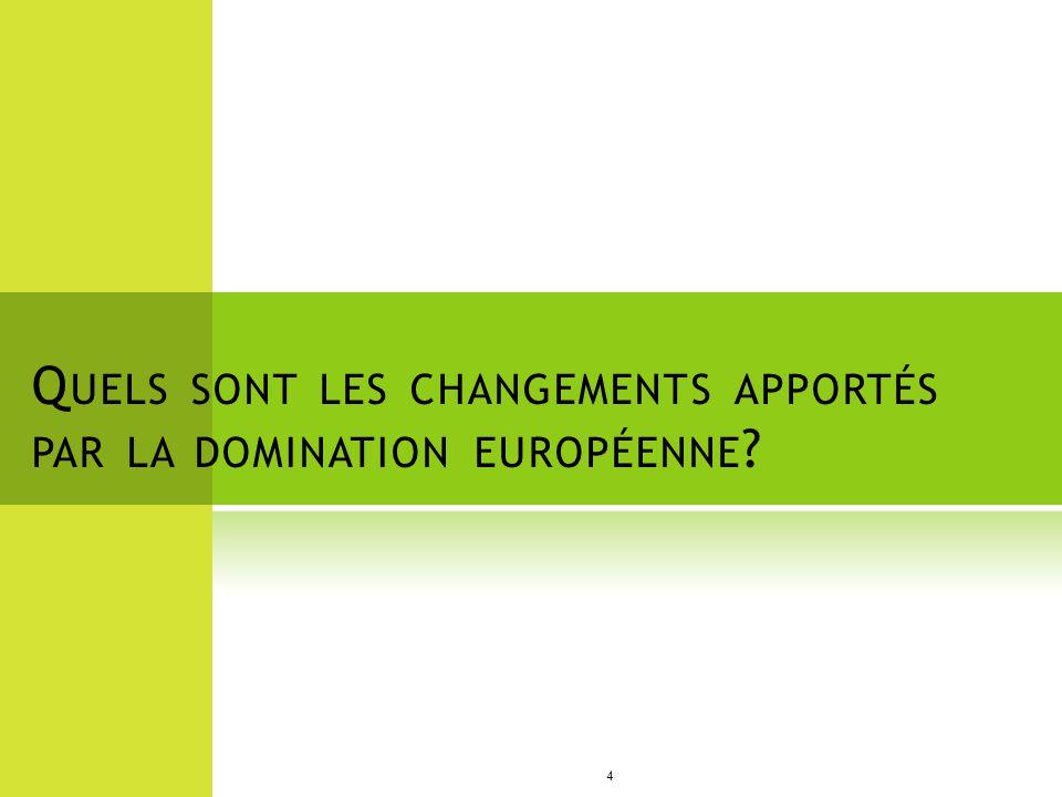 Quels sont les changements apportés par la domination européenne