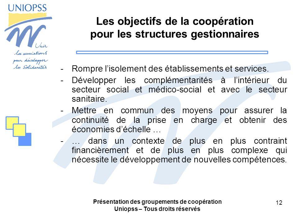 Les objectifs de la coopération pour les structures gestionnaires