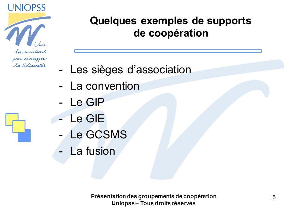 Quelques exemples de supports de coopération