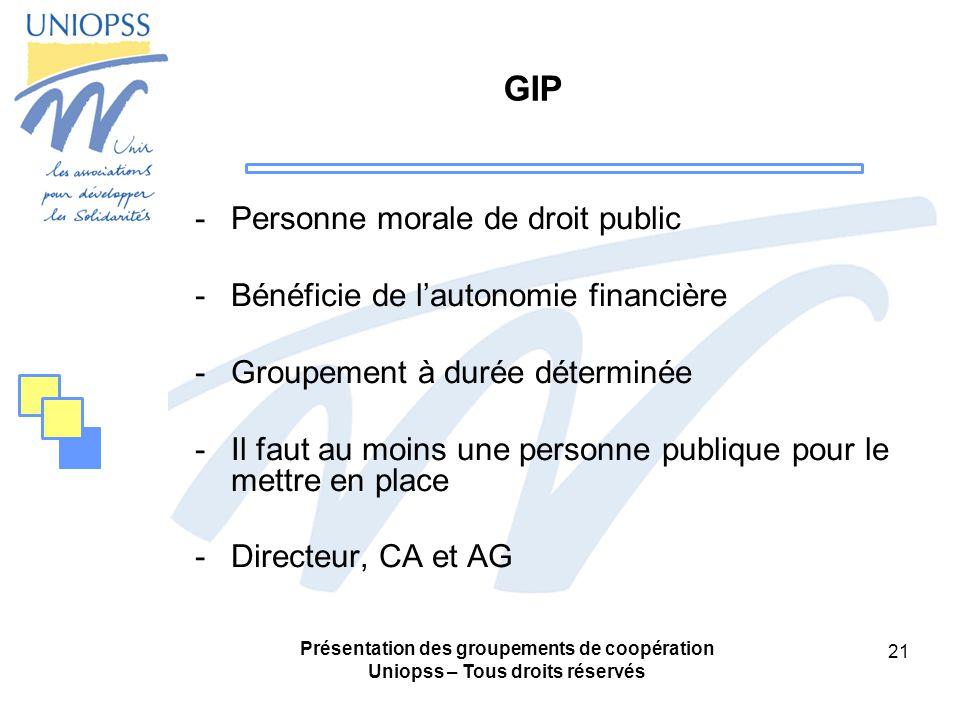 GIP Personne morale de droit public