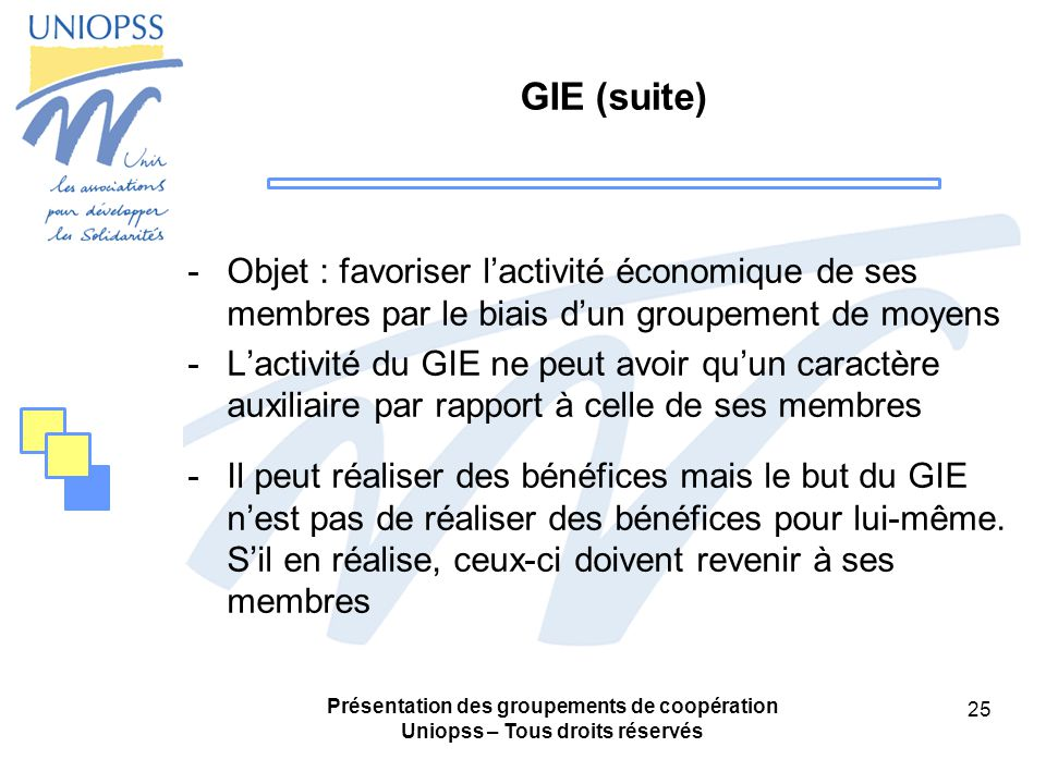 GIE (suite) Objet : favoriser l'activité économique de ses membres par le biais d'un groupement de moyens.