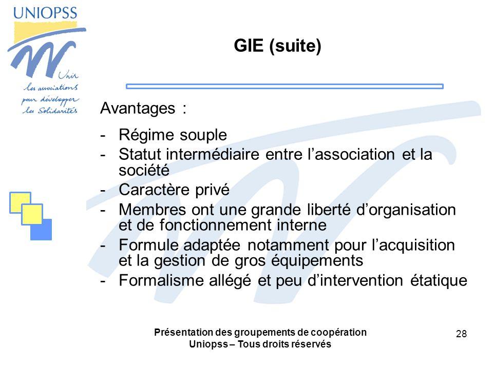 GIE (suite) Avantages : Régime souple
