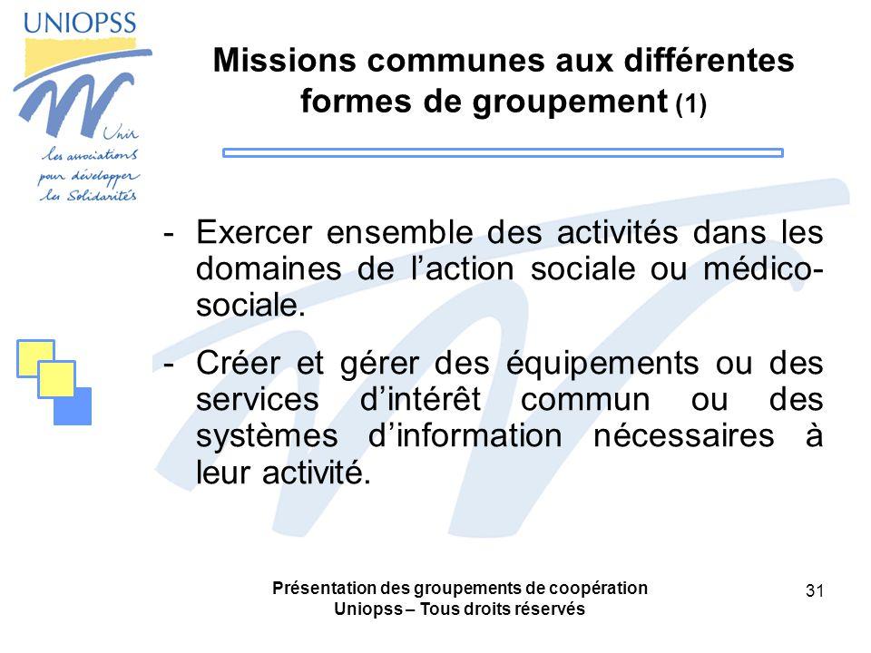 Missions communes aux différentes formes de groupement (1)