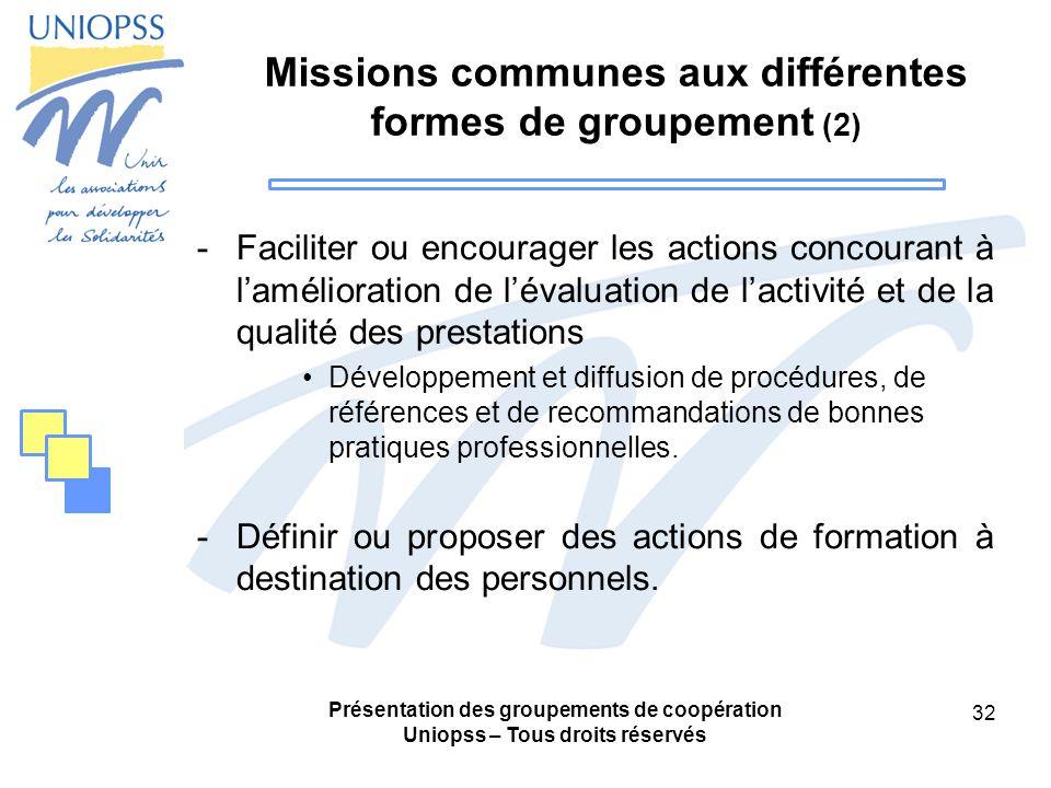 Missions communes aux différentes formes de groupement (2)