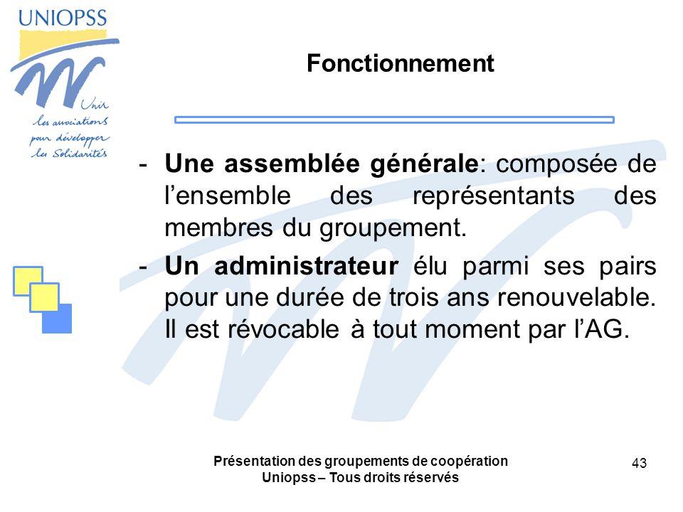 Fonctionnement Une assemblée générale: composée de l'ensemble des représentants des membres du groupement.