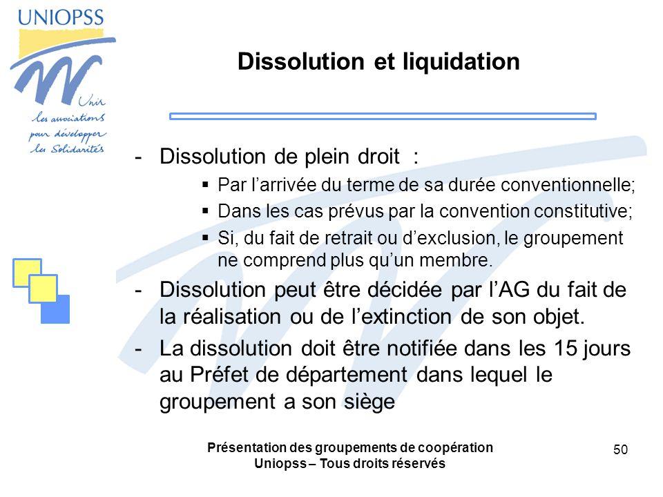 Dissolution et liquidation