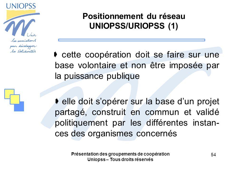 Positionnement du réseau UNIOPSS/URIOPSS (1)