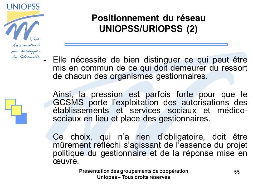 Positionnement du réseau UNIOPSS/URIOPSS (2)