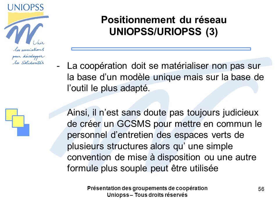Positionnement du réseau UNIOPSS/URIOPSS (3)