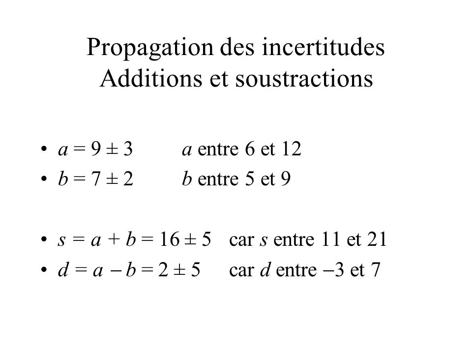 Propagation des incertitudes Additions et soustractions