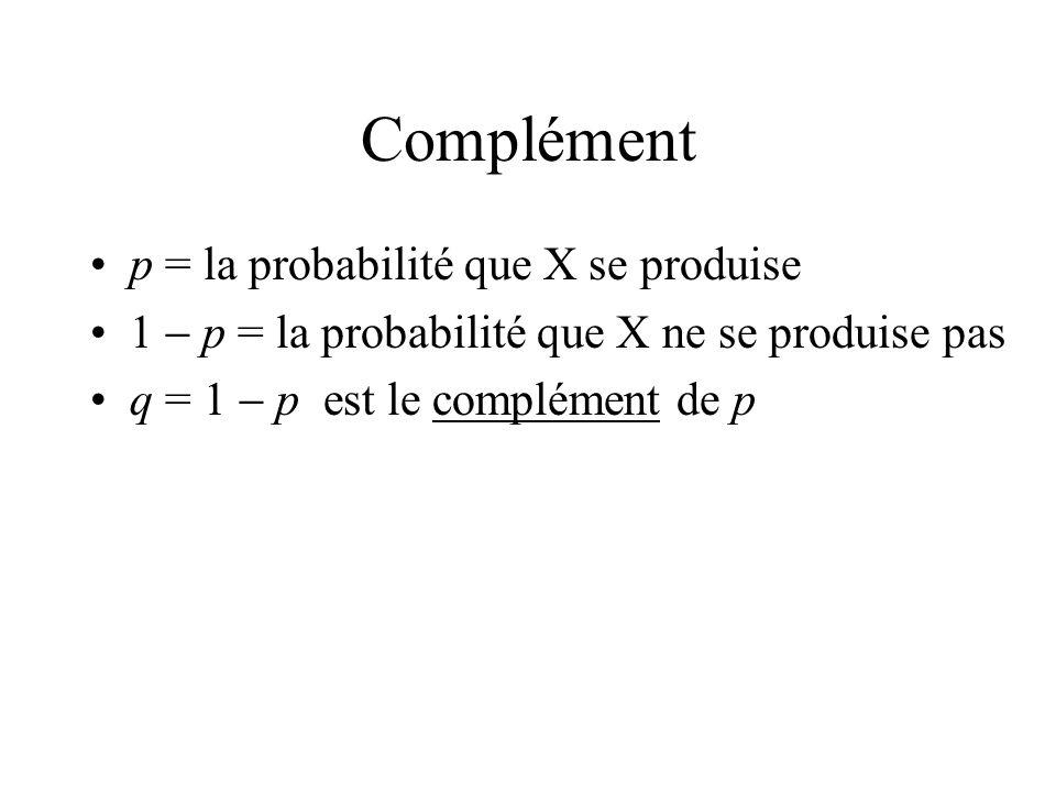 Complément p = la probabilité que X se produise