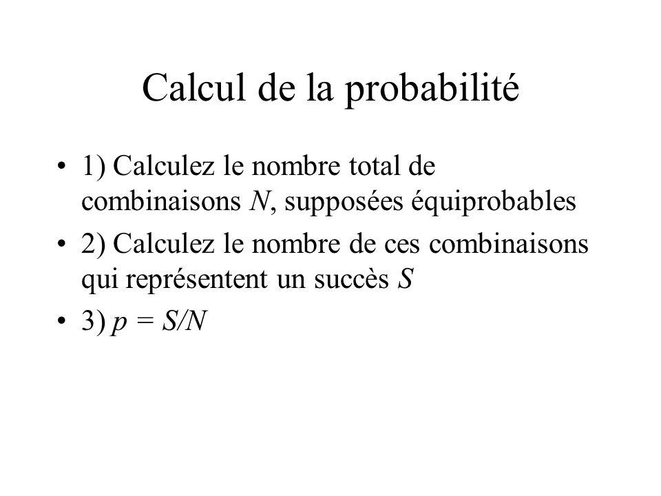 Calcul de la probabilité