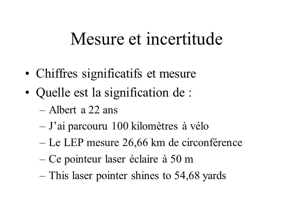 Mesure et incertitude Chiffres significatifs et mesure